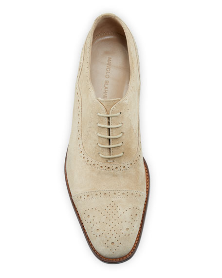 Manolo Blahnik Men's Witney Brogue Suede Oxford Shoes