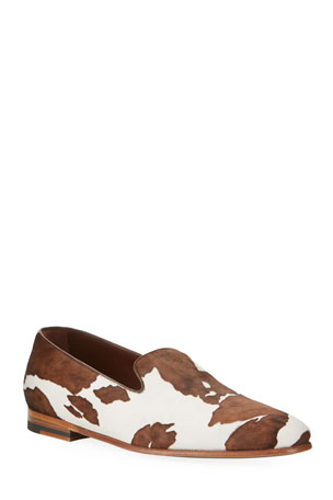 Manolo Blahnik Men's Mario Calf Hair Loafers