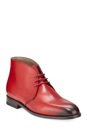 Manolo Blahnik Men's Warwick Leather Chukka Boots