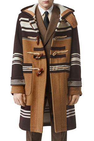 Burberry Men's Icon Stripe Wool Toggle Topcoat