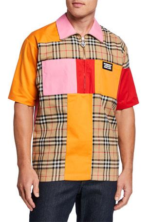 Burberry Men's Patched Vintage Check Half-Zip Sport Shirt