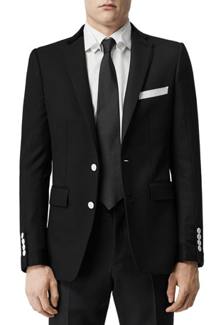 Burberry Men's Wool Tuxedo Jacket with Contrast Buttons