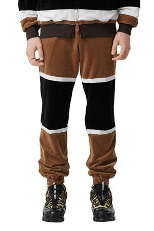 Burberry Men's Velour Icon Stripe Track Pants
