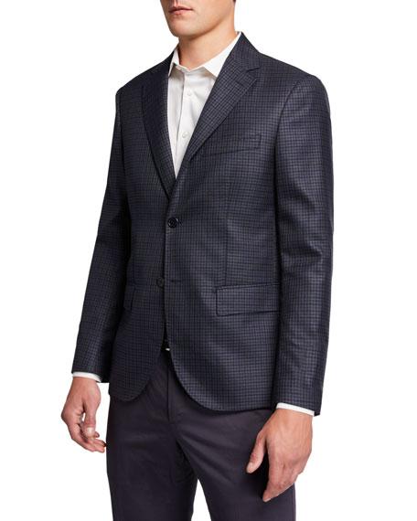 Santorelli Men's Check Two-Button Jacket