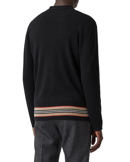 Burberry Men's Cashmere-Blend Stripe-Trim Cardigan