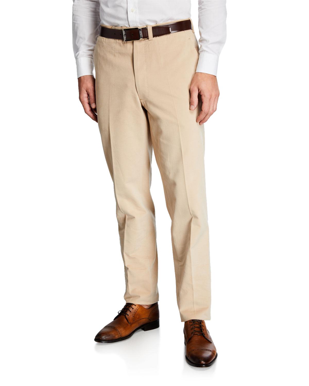 Ambrosi Napoli Beige Flat-Front Twill Pants