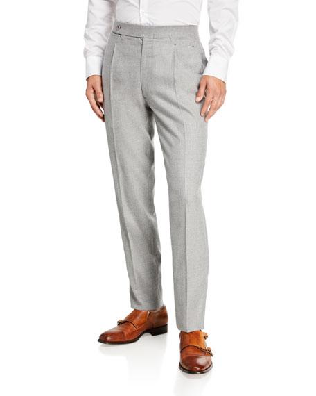 Ambrosi Napoli Men's Single-Pleat Wool Trouser Pants, Gray