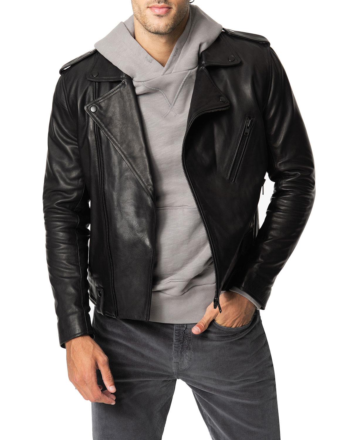 Men's Slim Fit Leather Moto Jacket by Joe's Jeans
