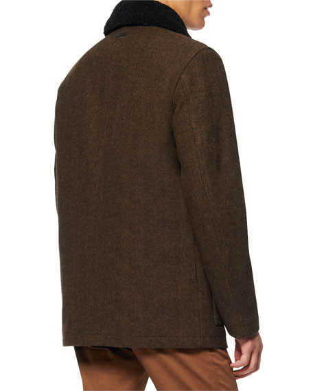 Image 2 of 2: Andrew Marc Men's Novelty Wool Chore Coat w/ Removable Faux-Shearling Collar