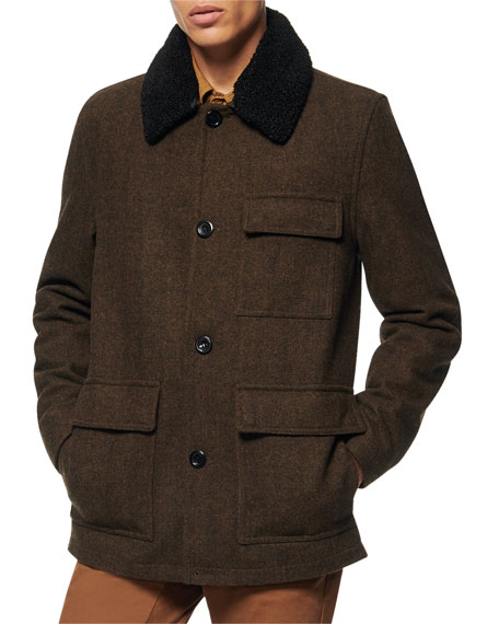Image 1 of 2: Andrew Marc Men's Novelty Wool Chore Coat w/ Removable Faux-Shearling Collar