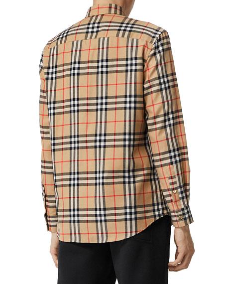 Burberry Men's Chambers Check Flannel Sport Shirt, Beige