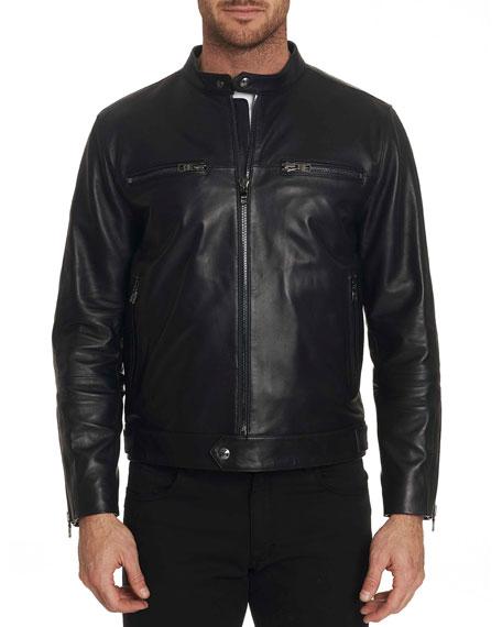 Robert Graham Men's Brando Lambskin Zip-Front Jacket