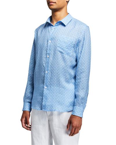 Men's Milan 6 Micro-Print Regular-Fit Linen Sport Shirt