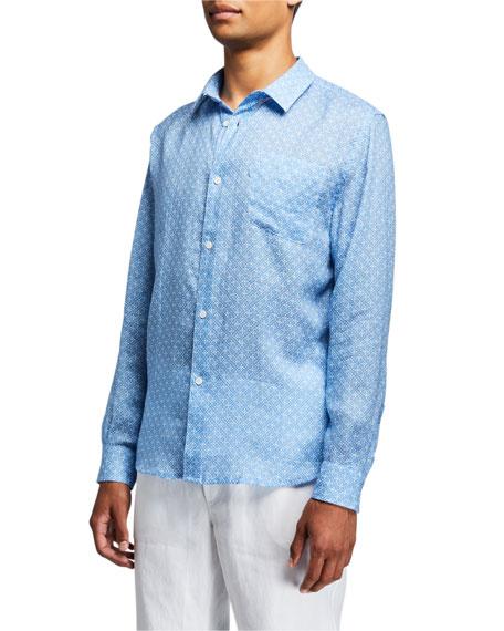 Derek Rose Men's Milan 6 Micro-Print Regular-Fit Linen Sport Shirt