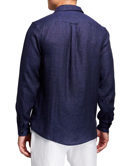 Derek Rose Men's Monaco 1 Linen Sport Shirt