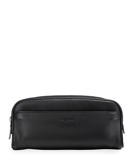 Coach MEN'S PEBBLED LEATHER TOILETRY TRAVEL CASE