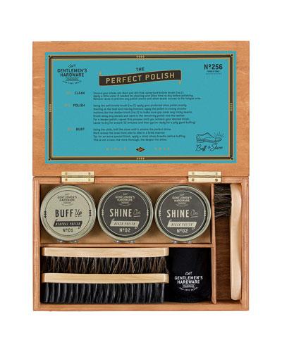 Men's 7-Piece Shoe Shine Kit with Cigar Box
