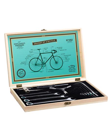 Gentlemen?s Hardware Men's Bicycle Tool Kit with Pine Wood Box