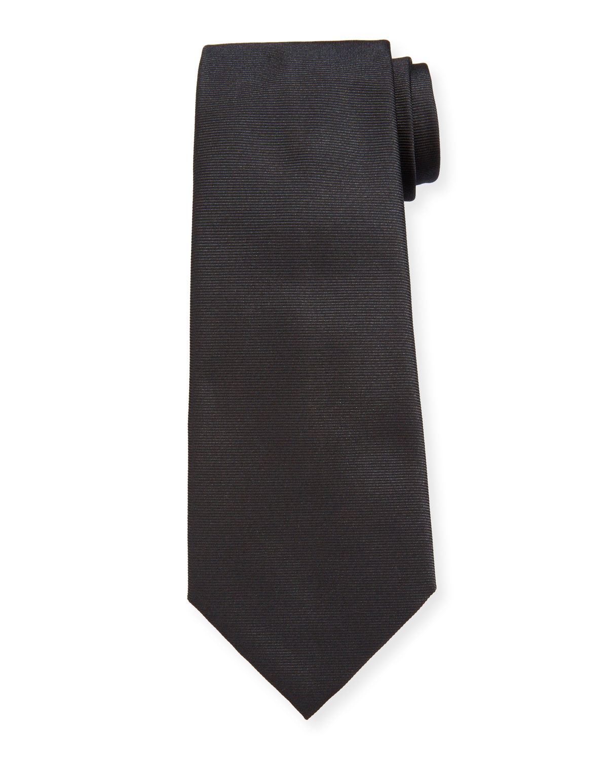 Ermenegildo Zegna Men's Solid Ribbed Silk Tie
