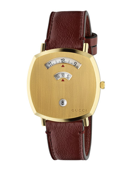 Gucci Men's Gucci Grip Square 3-Window Watch with Leather Strap
