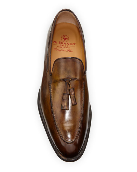 di Bianco Men's Burnished Leather Tassel Loafers