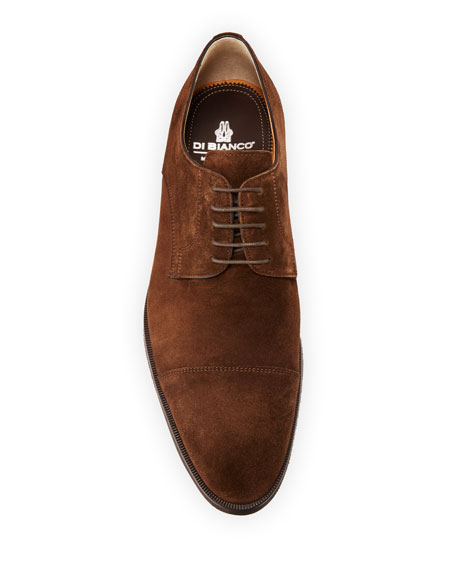 di Bianco Men's Suede Cap-Toe Derby Shoes