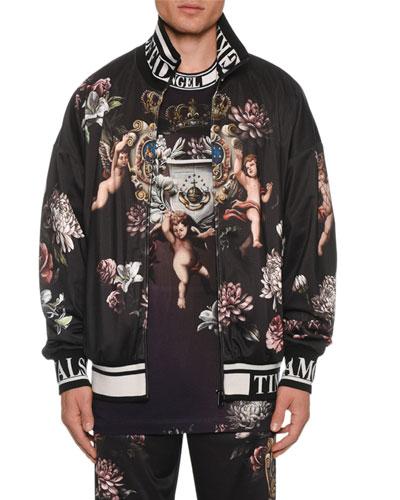 Men's Floral Cherub Zip-Front Jacket