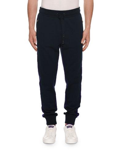 Men's Two-Tone Velvet Jogger Pants