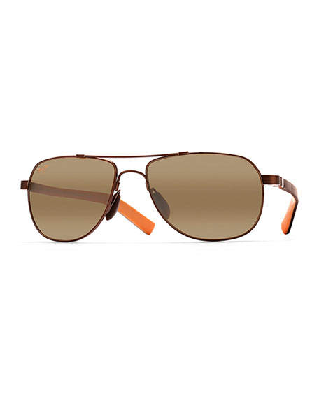 Maui Jim Men's Guardrails MauiFlex Polarized Aviator Sunglasses