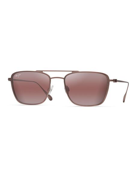 Maui Jim Men's Ebb and Flow Polarized Titanium Aviator Sunglasses