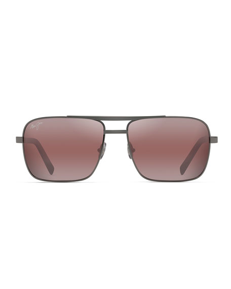 Maui Jim Men's Compass Polarized Metal Brow-Bar Sunglasses