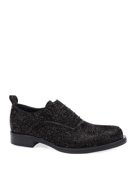 Image 1 of 4: Costume National Men's Glitter Oxford Shoes
