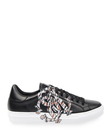 Image 2 of 4: Men's Signature Snake Leather Low-Top Sneakers
