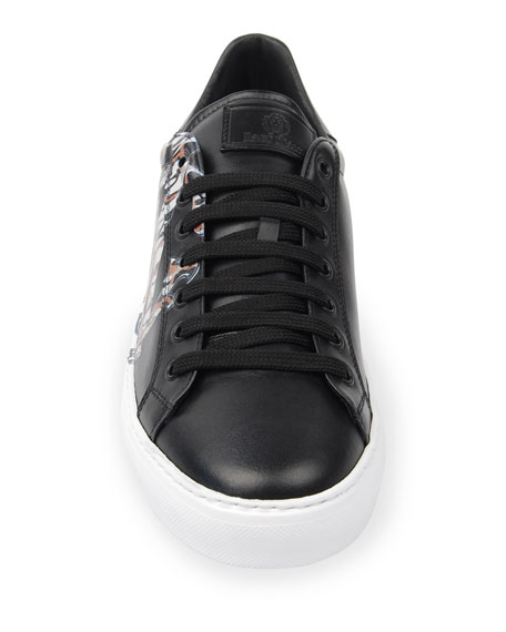 Image 3 of 4: Men's Signature Snake Leather Low-Top Sneakers