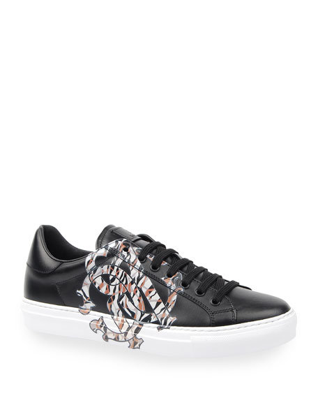 Image 1 of 4: Men's Signature Snake Leather Low-Top Sneakers