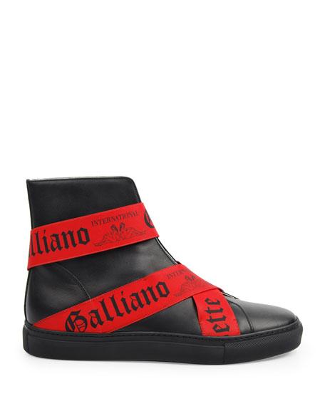 John Galliano Paris Men's Leather High-Top Elastic-Strap Sneakers