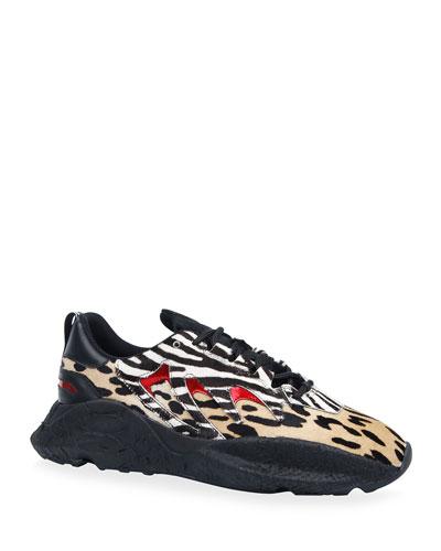Men's Leopard & Zebra-Print Low-Top Sneakers