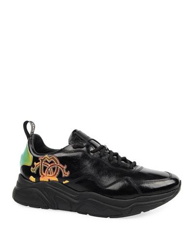 Men's Low-Top Side-Logo Leather Sneakers