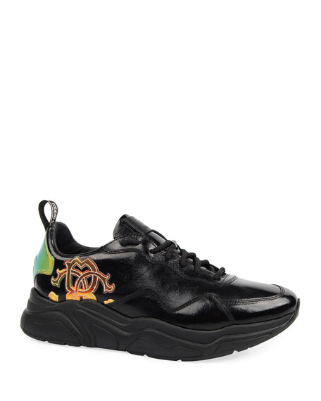 Roberto Cavalli Men's Low-Top Side-Logo Leather Sneakers