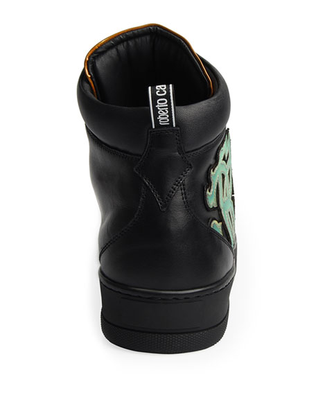 Roberto Cavalli Men's High-Top Leather Sneakers with Logo Applique