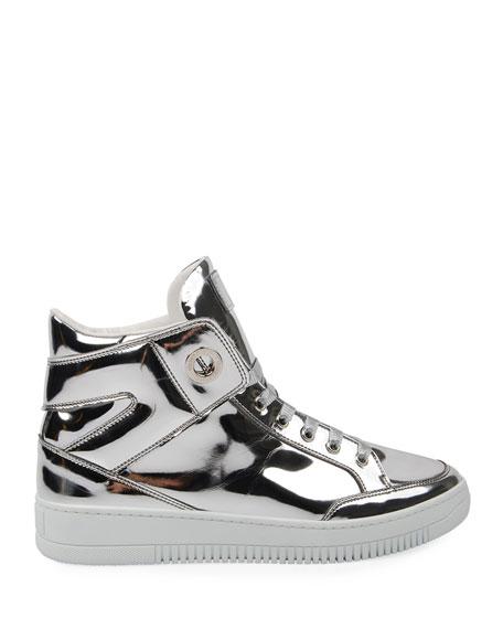 Roberto Cavalli Men's Metallic Leather High-Top Sneakers