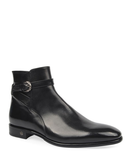Roberto Cavalli Men's Leather Side-Zip Ankle Boots w/ Buckle Strap