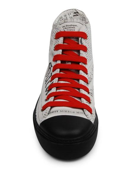 John Galliano Paris Men's Leather Gazette High-Top Sneakers