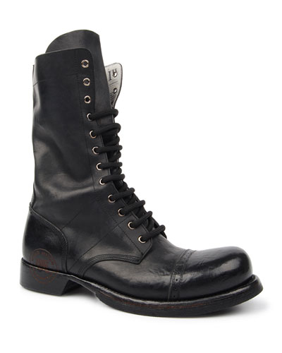 Men's Leather Combat Boots with Logo Stamp