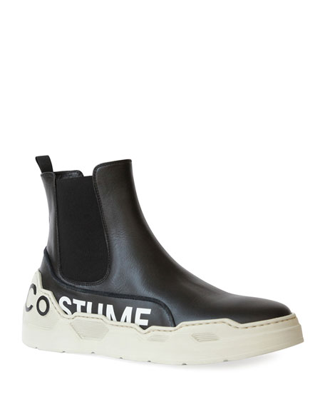 Costume National Men's High-Top Leather Chelsea Sneakers with Logo