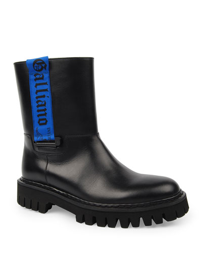 Men's Leather Lug-Sole Moto Boots with Logo Web
