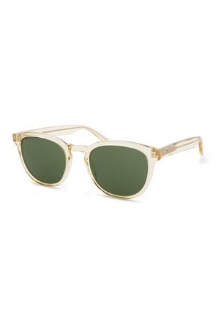 Barton Perreira Men's Gellert 51 Round Transparent Acetate Sunglasses
