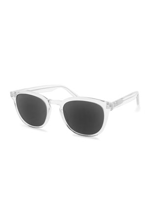 Barton Perreira Men's Gellert 51 Round Transparent Acetate Sunglasses