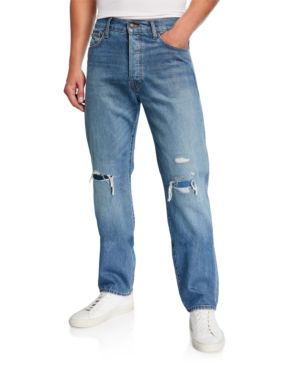 7 for all mankind Men's Rip/Repair Vintage Straight Jeans