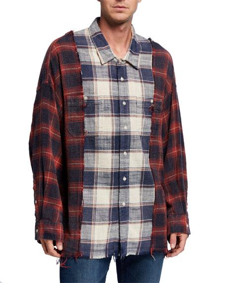 R13 Men's Drop-Neck Combination Plaid Work Shirt